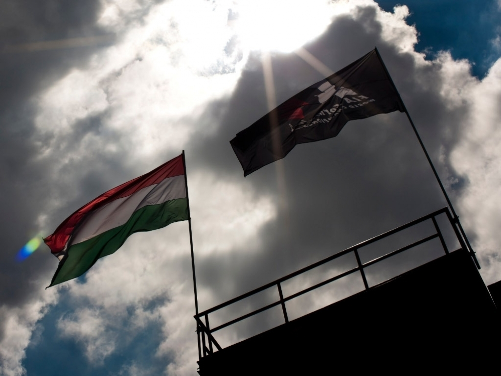 Hungaroring with flags