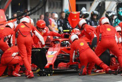 Kimi Raikkonen makes his second stop during Sunday's German GP