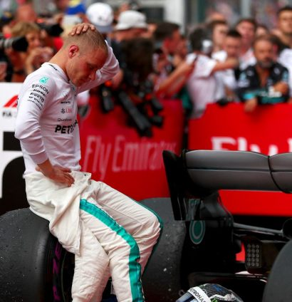 Valtteri Bottas looks dejected after backing off to give Lewis Hamilton the race victory in Germany.