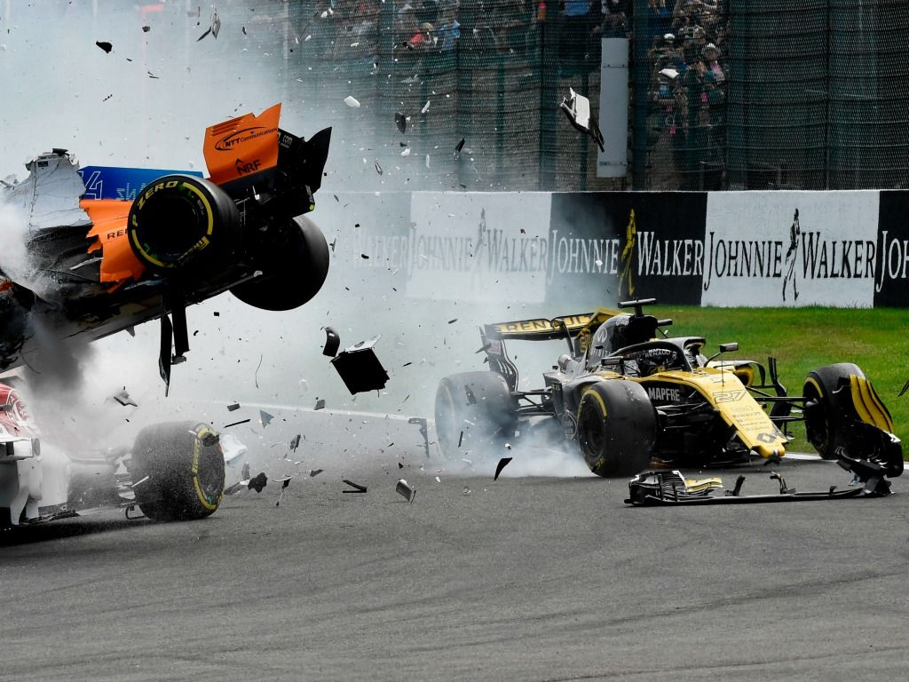 Nico Hulkenberg has been given a 10 place grid drop after causing the Turn 1 incident at Spa