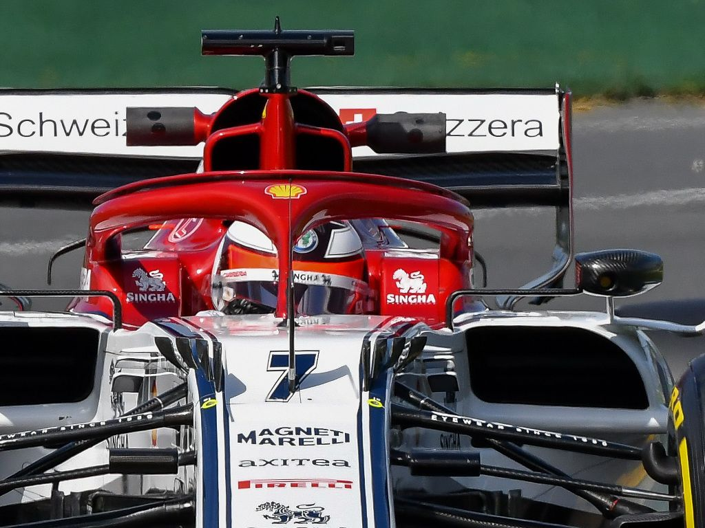 Kimi Raikkonen was forced to stop early in the 2019 Australian GP after a visor tear-off got stuck in his brake duct.