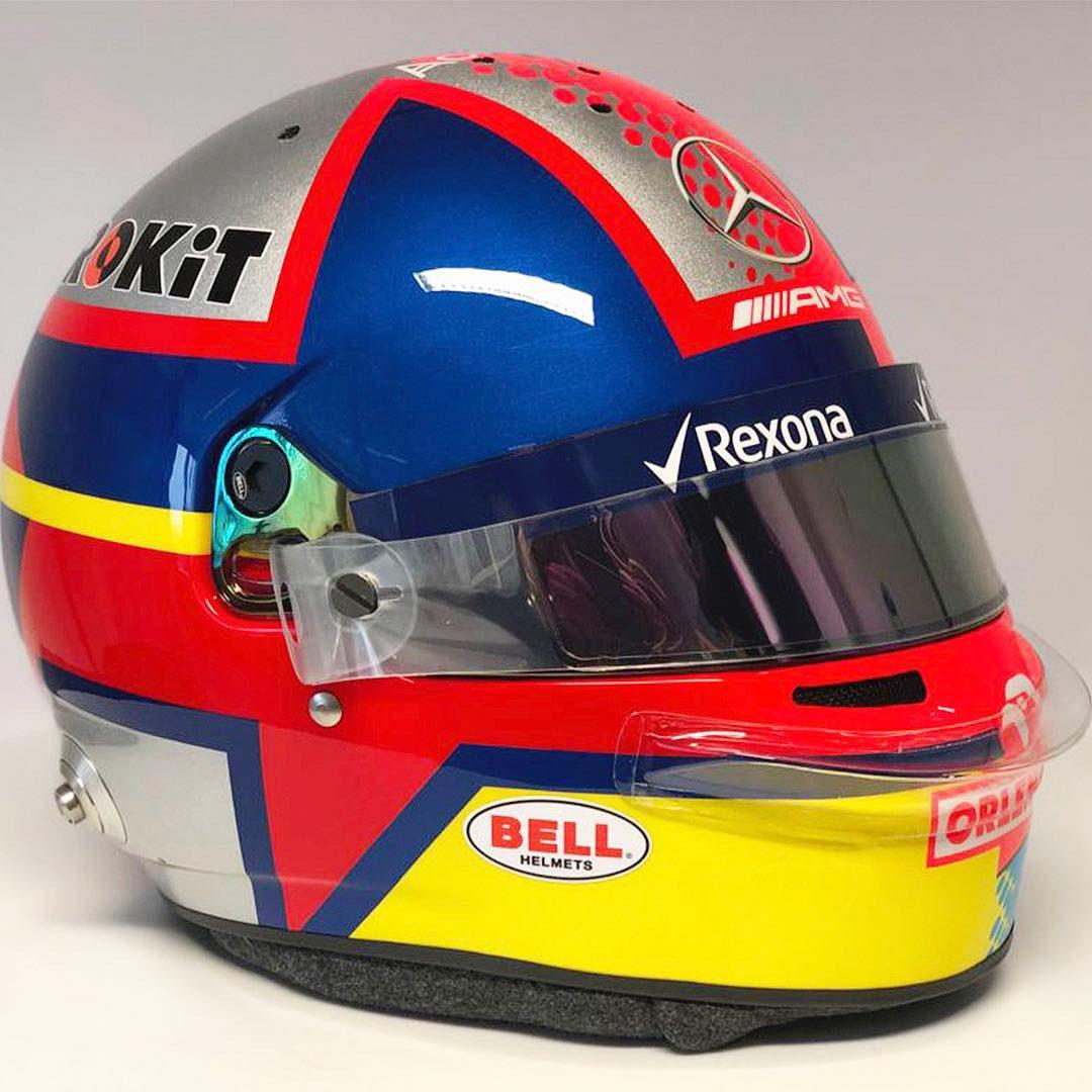 George Russell 1000th race helmet