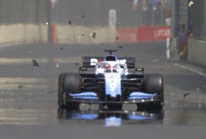 FP1: George Russell's FW42 destroyed by drain cover
