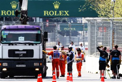 """Claire Williams says it is """"not acceptable"""" after a loose drain cover destroyed the underside of George Russell's car in FP1 in Baku."""