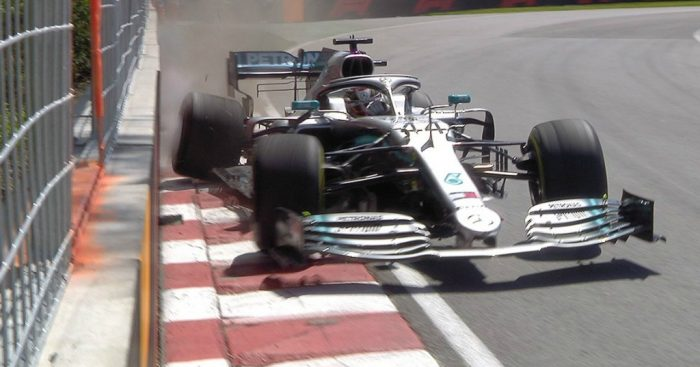 Lewis Hamilton strikes the wall in FP2 at the Canadian Grand Prix.