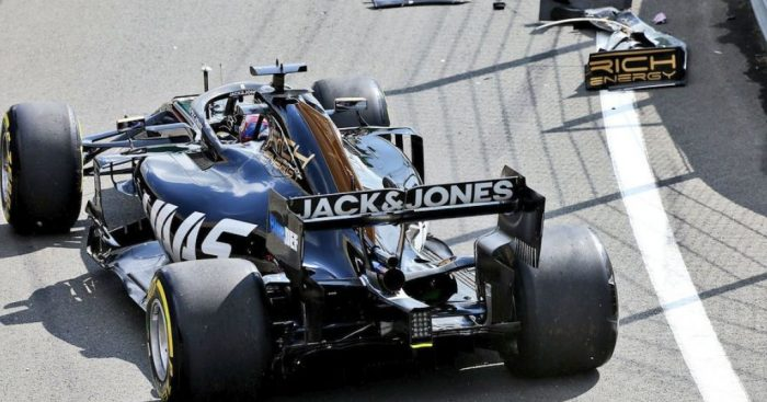 Romain Grosjean crashes in the pit lane during FP1 in Silverstone.