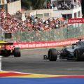 Lewis Hamilton chases Ferrari