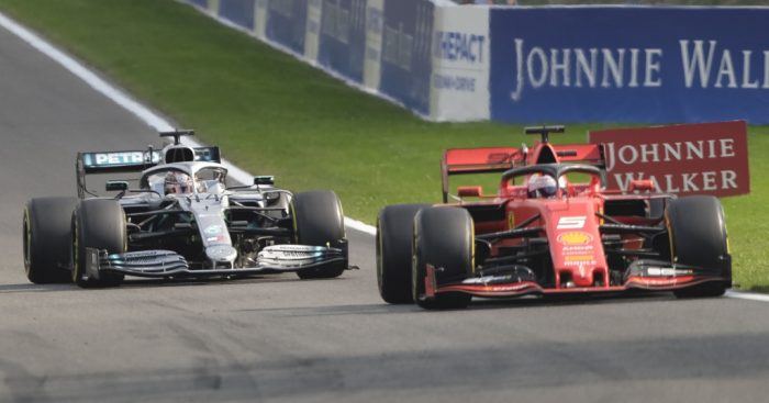 Sebastian Vettel holding off Lewis Hamilton