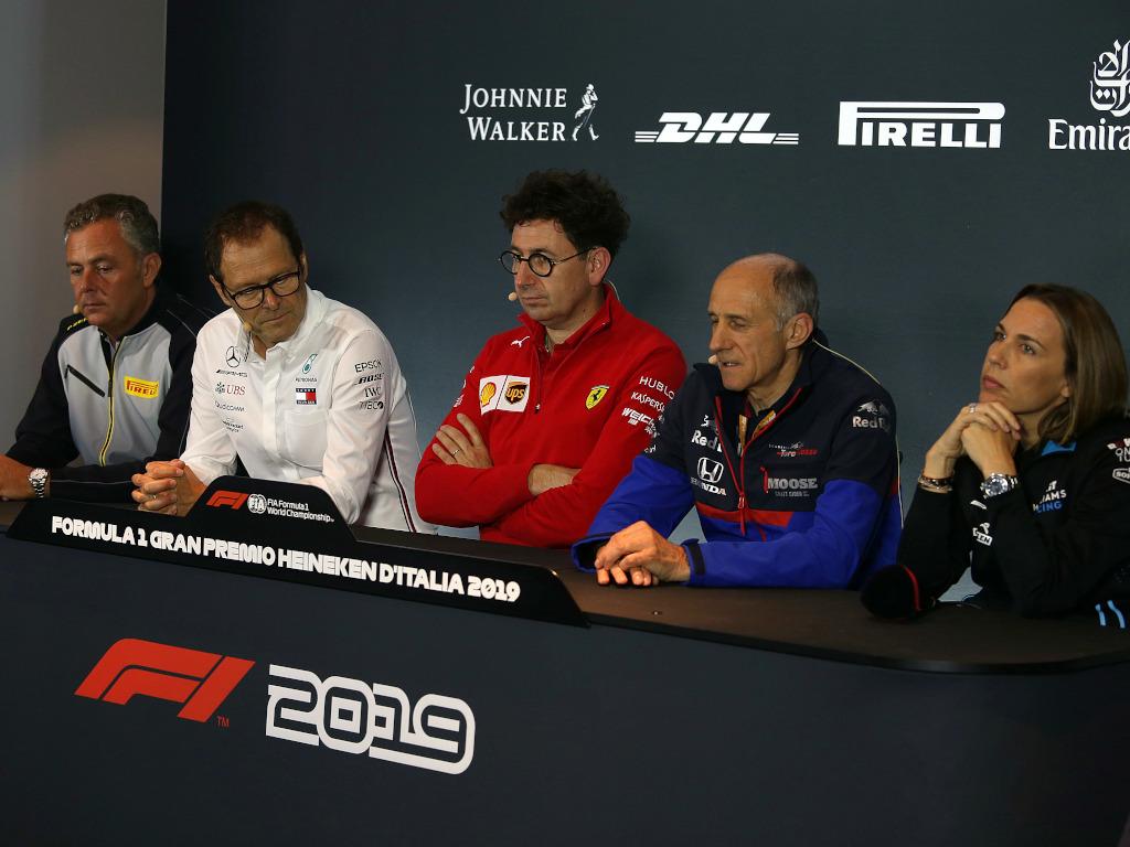 Claire Williams from Williams, Toro Rosso's Franz Tost, Mattia Binotto from Ferrari, Pirelli's Mario Isola and Aldo Costa from Mercedes