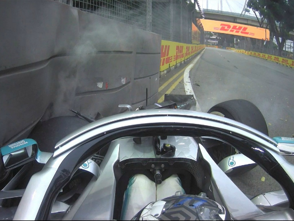 Bottas meets the barriers, gearbox issue for Leclerc