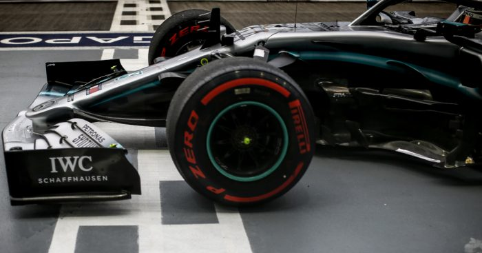 Lewis Hamilton crosses the line