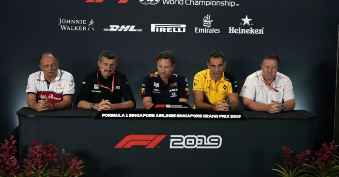Frederic Vasseu, Guenther Steiner, Christian Horner, Cyril Abiteboul and Zak Brown press conference