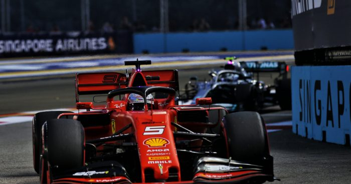 Sebastian Vettel under lights