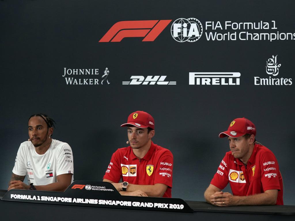 Lewis Hamilton Charles Leclerc Sebastian Vettel press conference