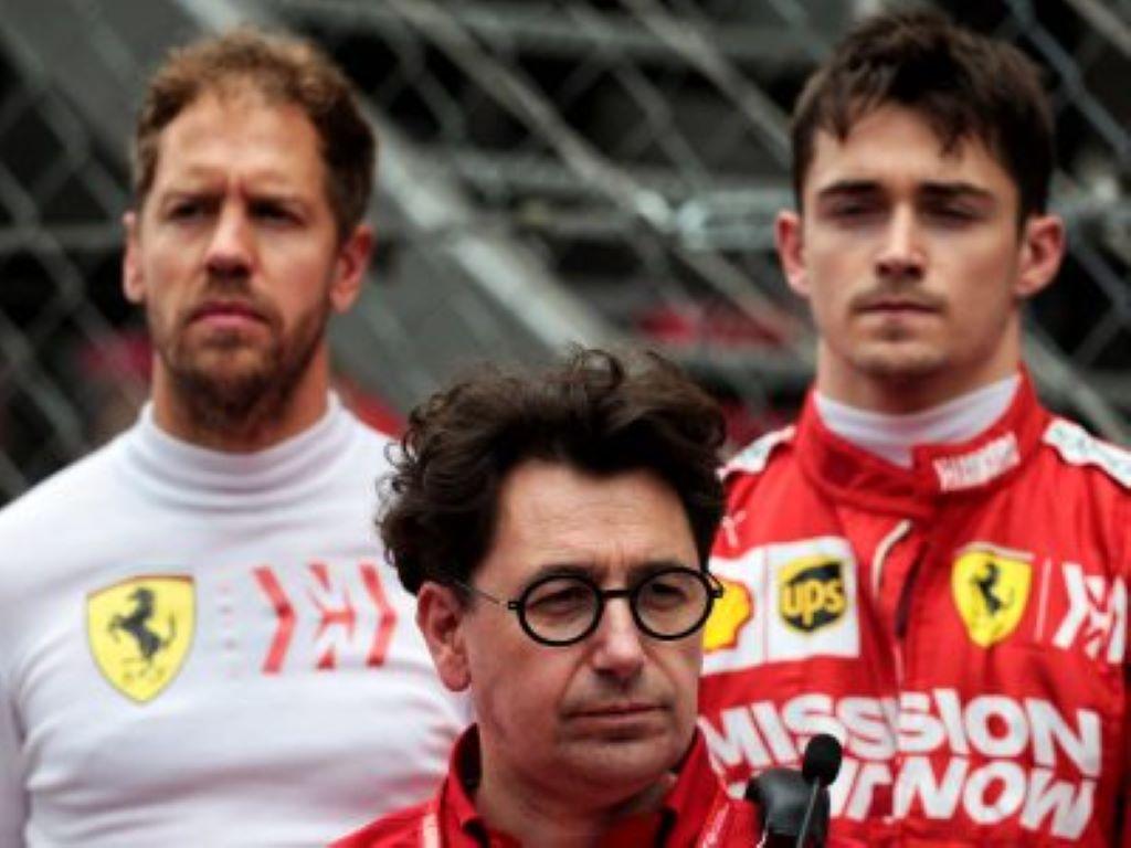 Mattia Binotto Sebastian Vettel Charles Leclerc Ferrari
