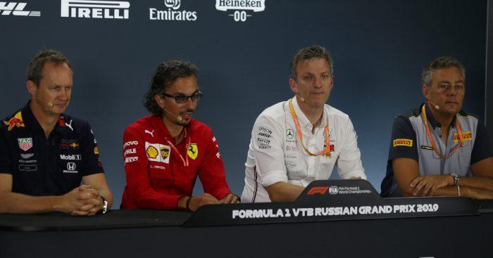 Laurent Mekies (Ferrari), Paul Monaghan (Red Bull Racing), James Allison (Mercedes) and Mario Isoloa (Pirelli) Russian GP press conference