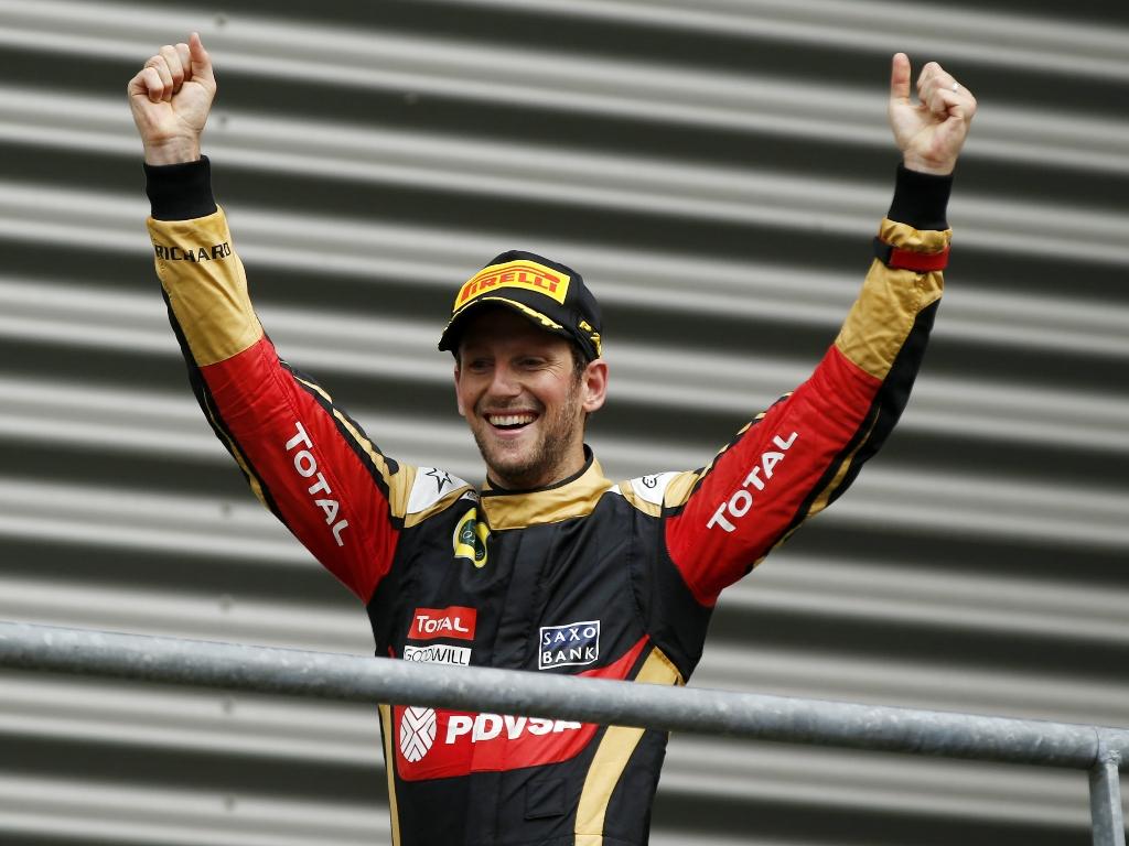 Grosjean celebrates Spa podium 2015