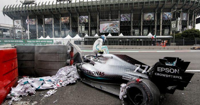 Valtteri Bottas Mercedes crash in Mexico