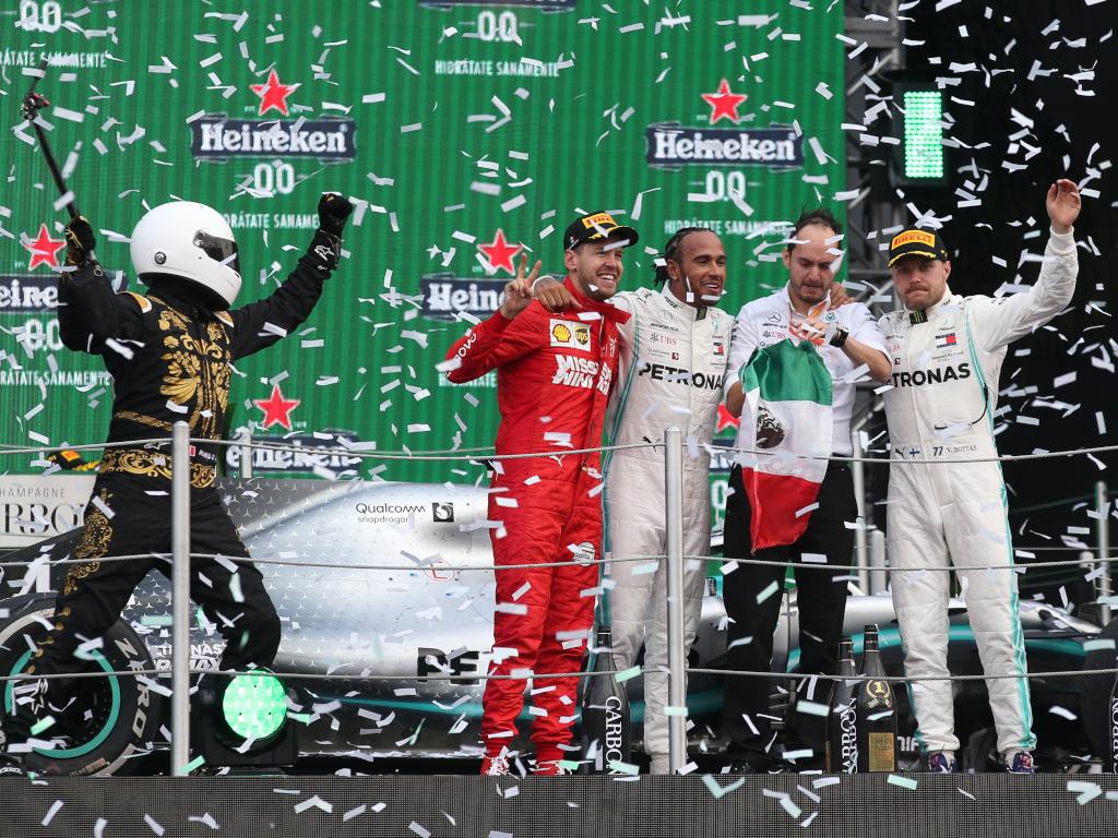 Mexican GP podium ceremony Sebastian Vettel Lewis Hamilton Valtteri Bottas