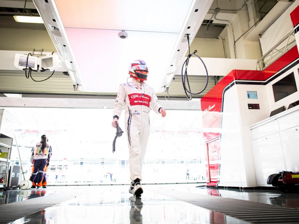 Kimi Raikkonen in the garage