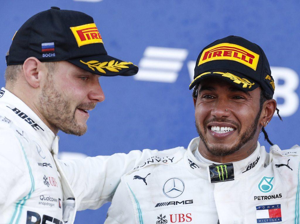 Valtteri-Bottas-and-Lewis-Hamilton-podium-PA