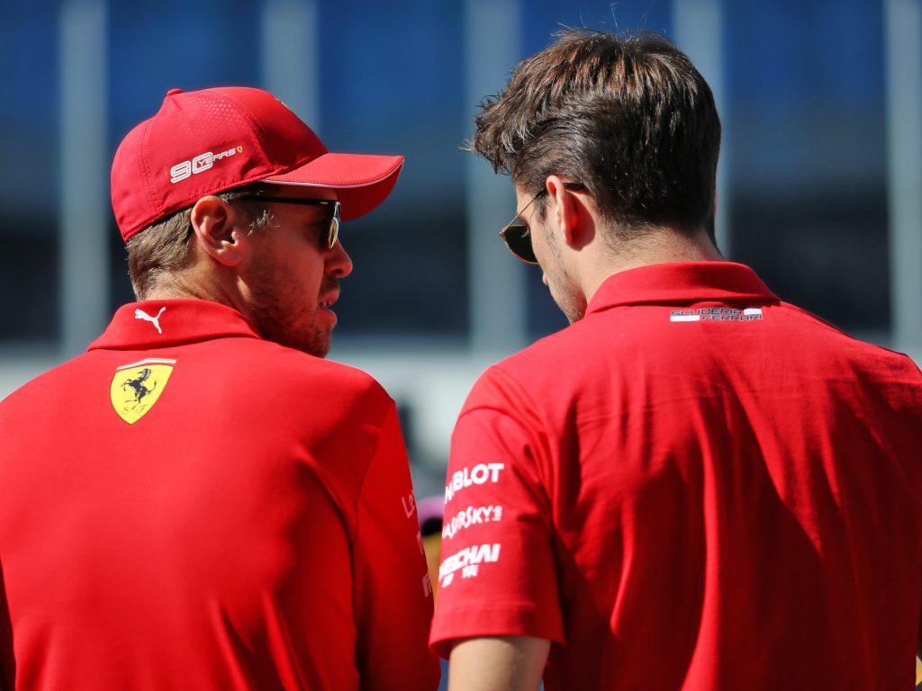 Sebastian-Vettel-speaking-with-Charles-Leclerc-PA