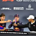 Pierre Gasly Max Verstappen and Lewis Hamilton