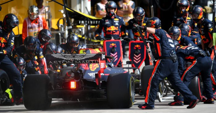 Max Verstappen and Red Bull pit stop