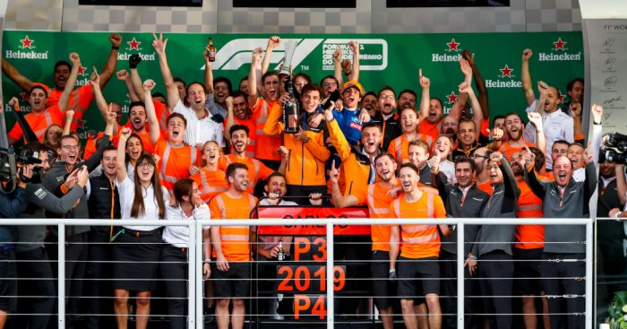 Carlos Sainz and McLaren celebrate Brazilian GP podium