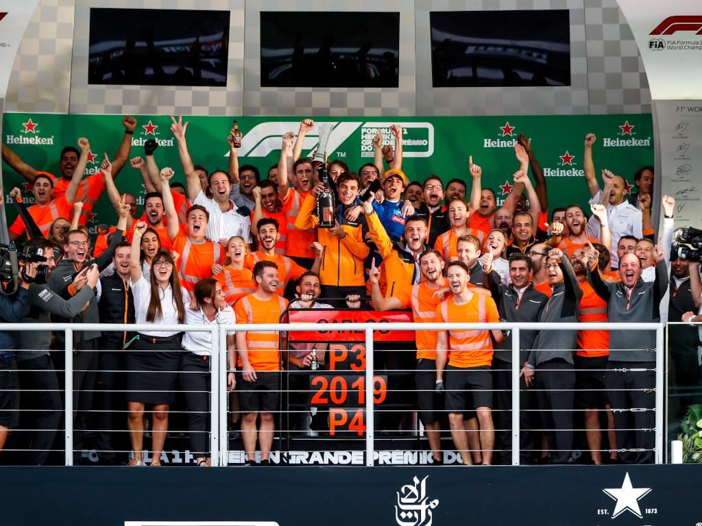 Carlos Sainz and McLaren celebrate Brazilian GP podium