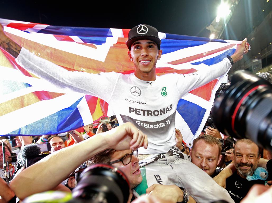 Lewis Hamilton celebrates 2014 World title
