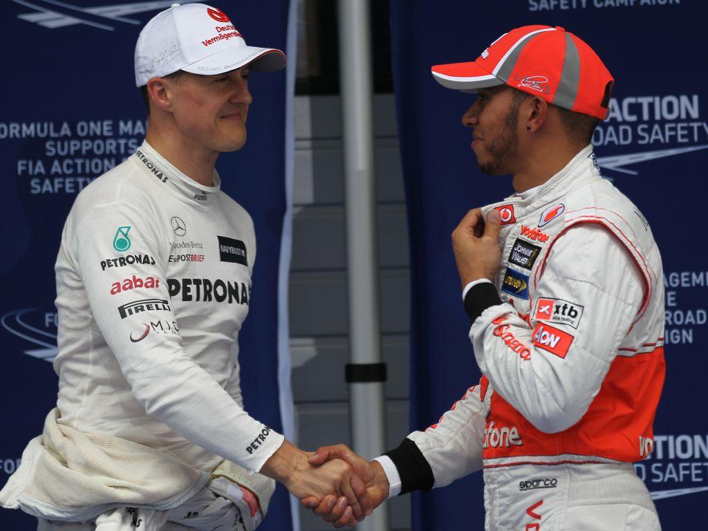 Michael Schumacher Lewis Hamilton PA