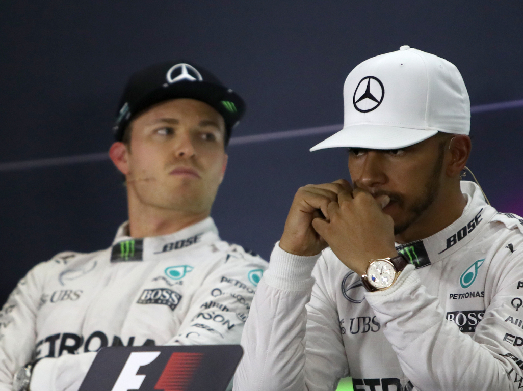 "Nico Rosberg says that Lewis Hamilton is ""maybe"" a more talented racer than he is."
