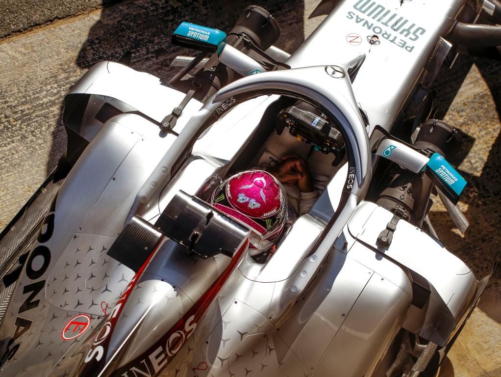 Lewis-Hamilton-purple-helmet-W11-aerial