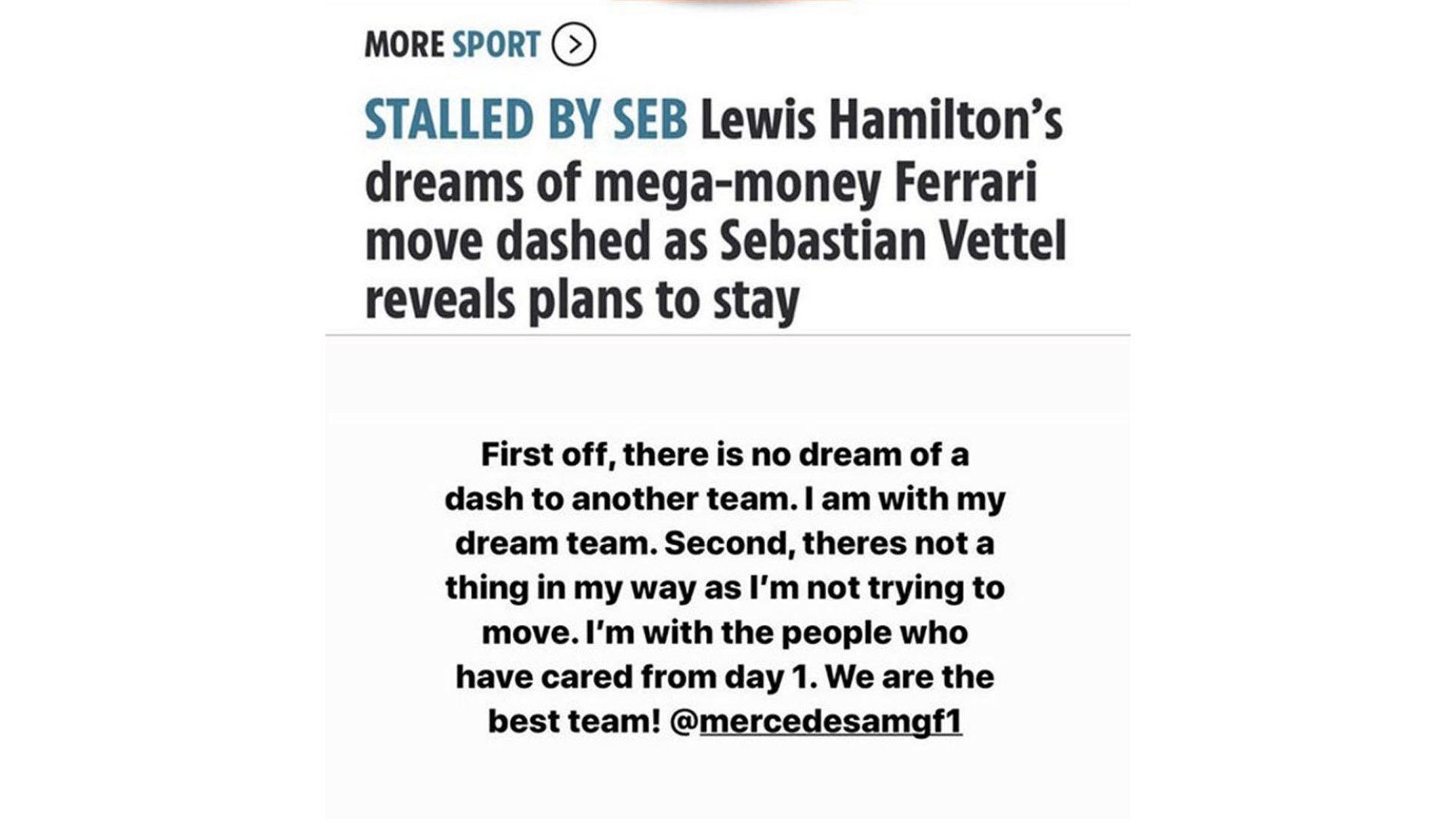 Lewis Hamilton Instagram