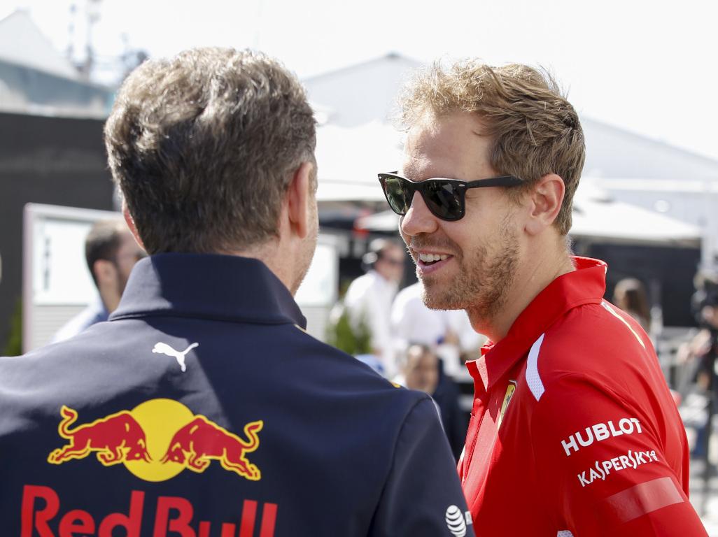 Christian Horner and Sebastian Vettel pa