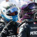 Valtteri Bottas and Lewis Hamilton celebrate PA