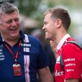 Otmar Szafnauer (left) and Sebastian Vettel Aston Martin