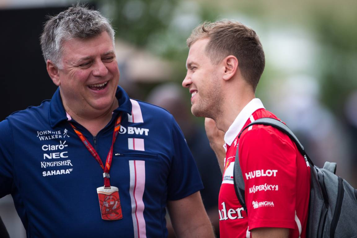 Otmar Szafnauer (left) and Sebastian Vettel