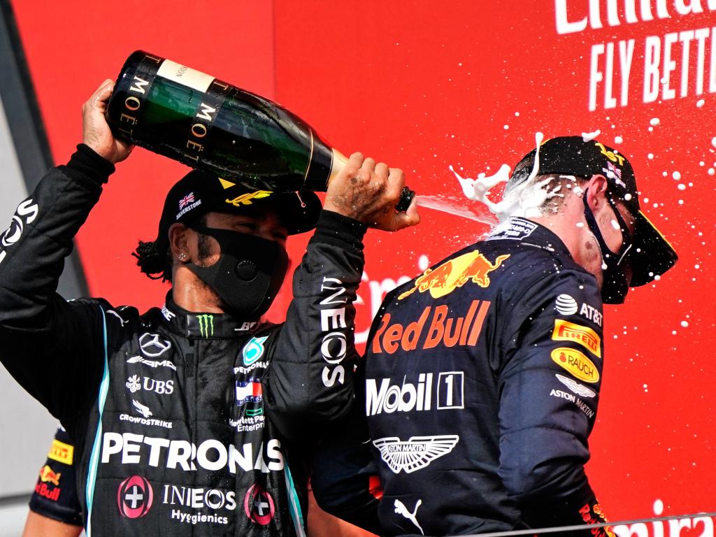 Lewis Hamilton and Max Verstappen podium