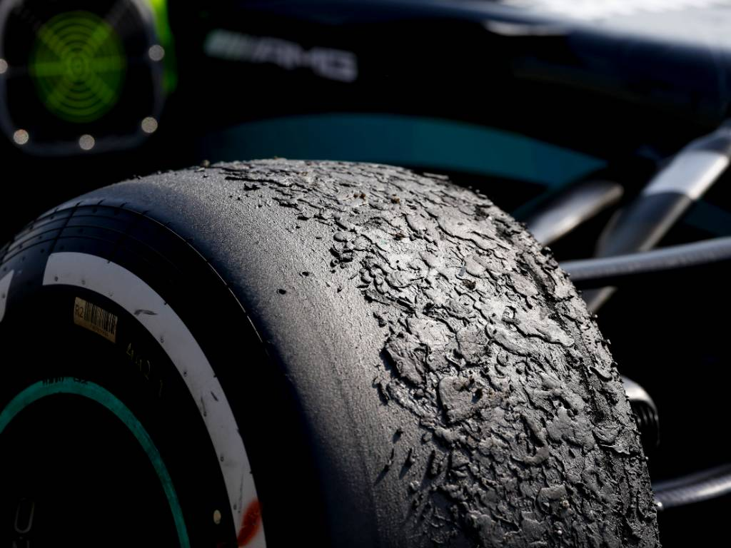 Lewis Hamilton Mercedes blistered tyre