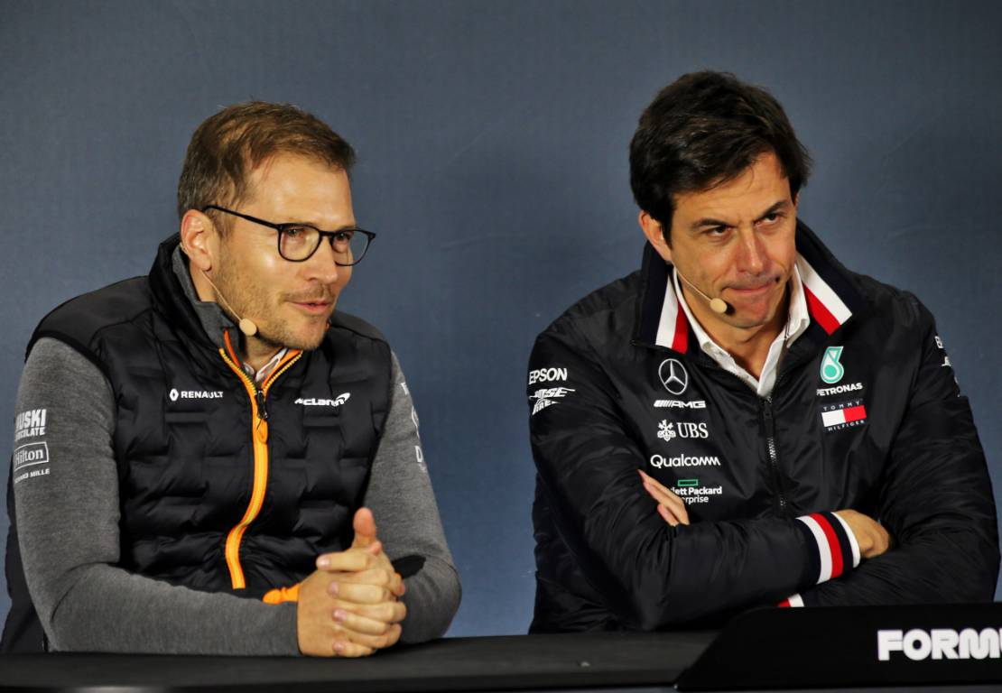 McLaren team principal Andreas Seidl (left) and Toto Wolff
