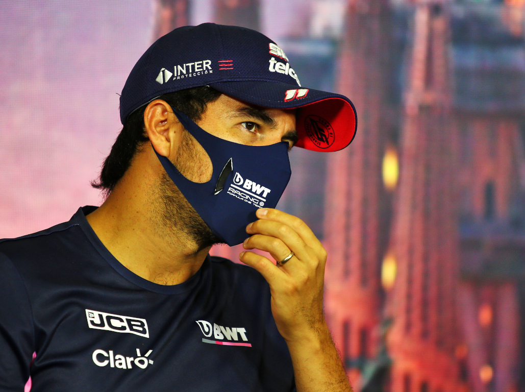 Sergio Perez interview mask.