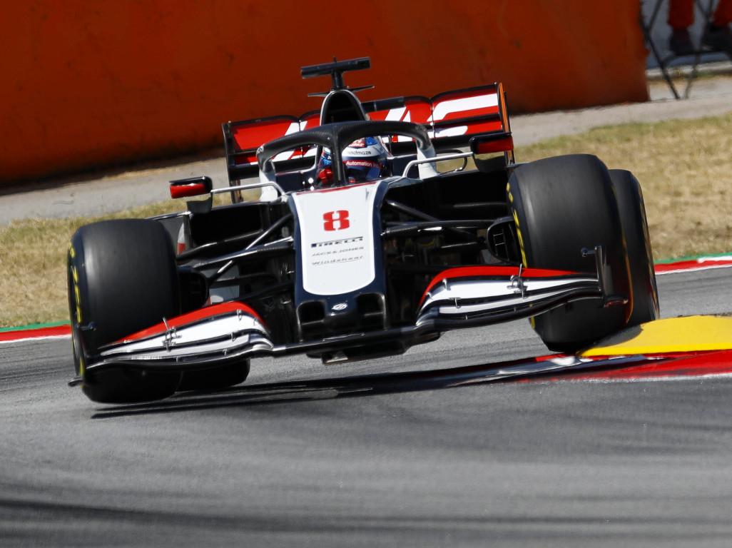 Haas Romain Grosjean kerb