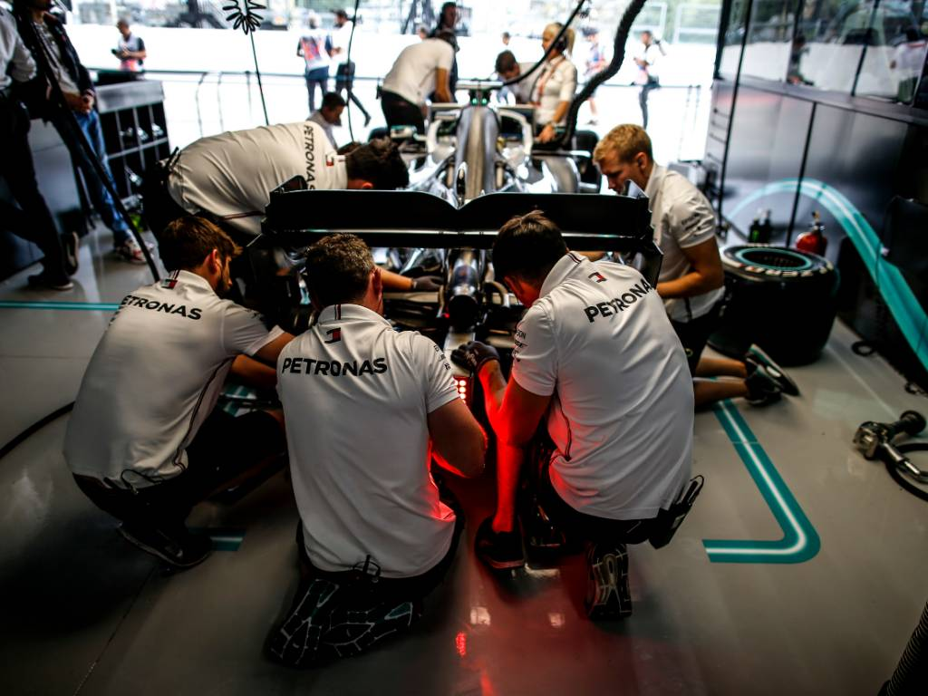 Mercedes mechanics at work in the garage