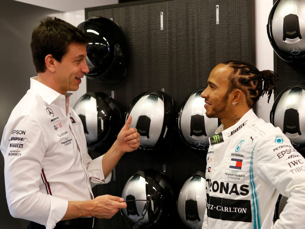 Lewis Hamilton and Toto Wolff smiling