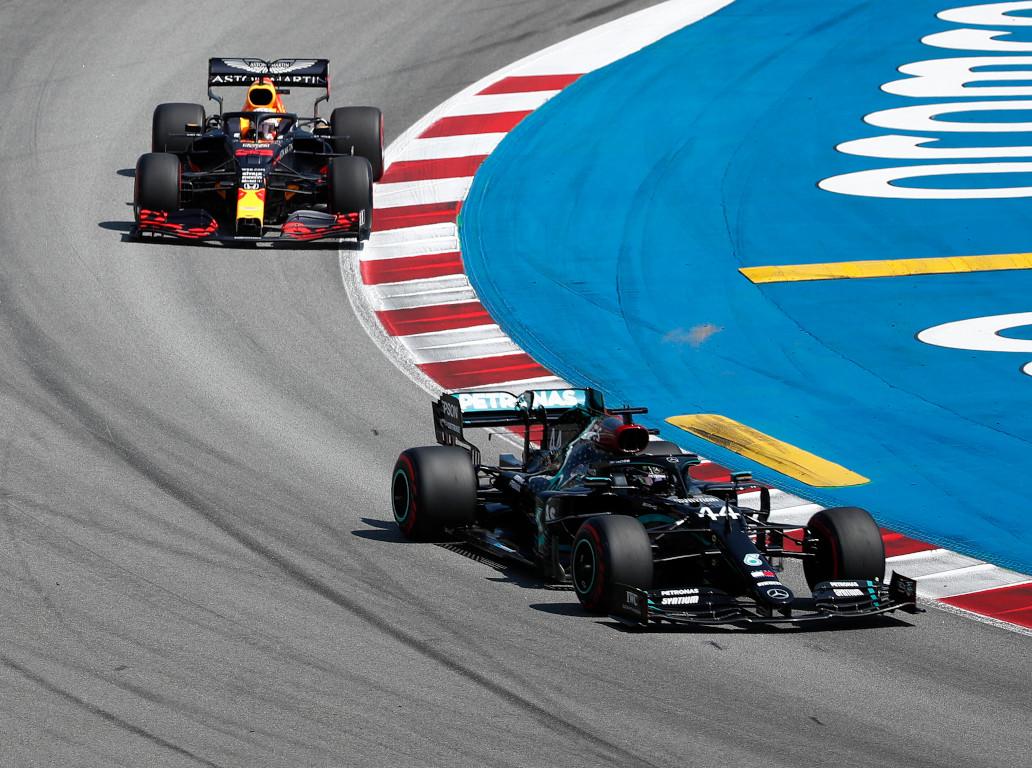 Mercedes Red Bull Lewis Hamilton leads Verstappen
