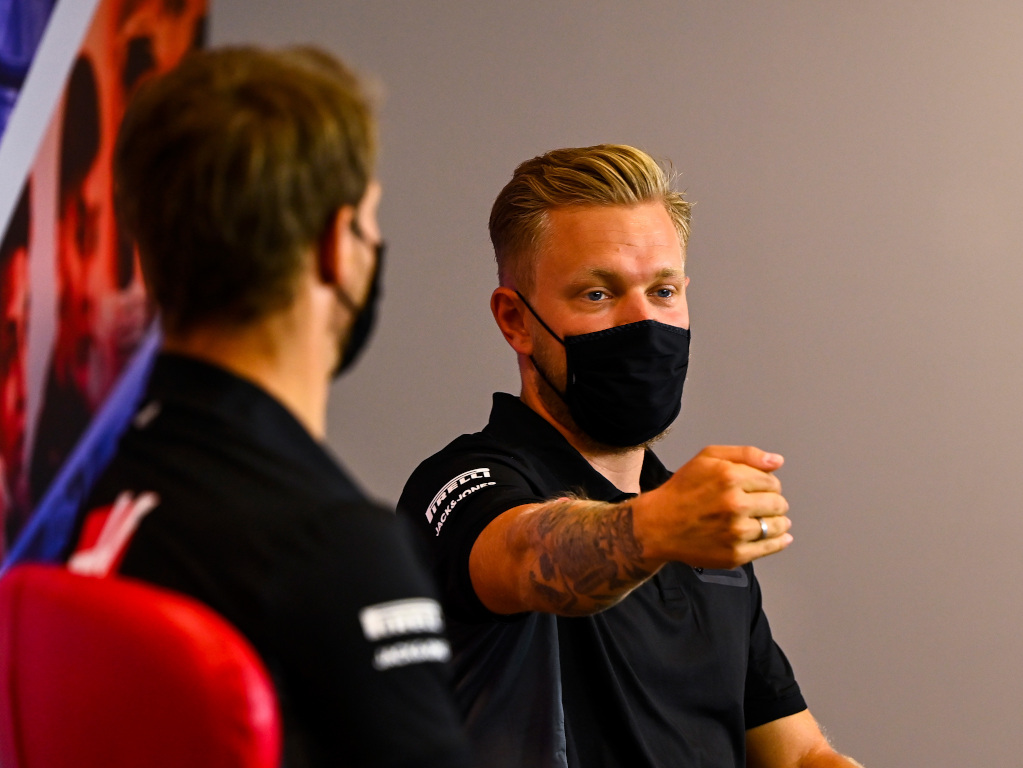 Romain Grosjean and Kevin Magnussen press
