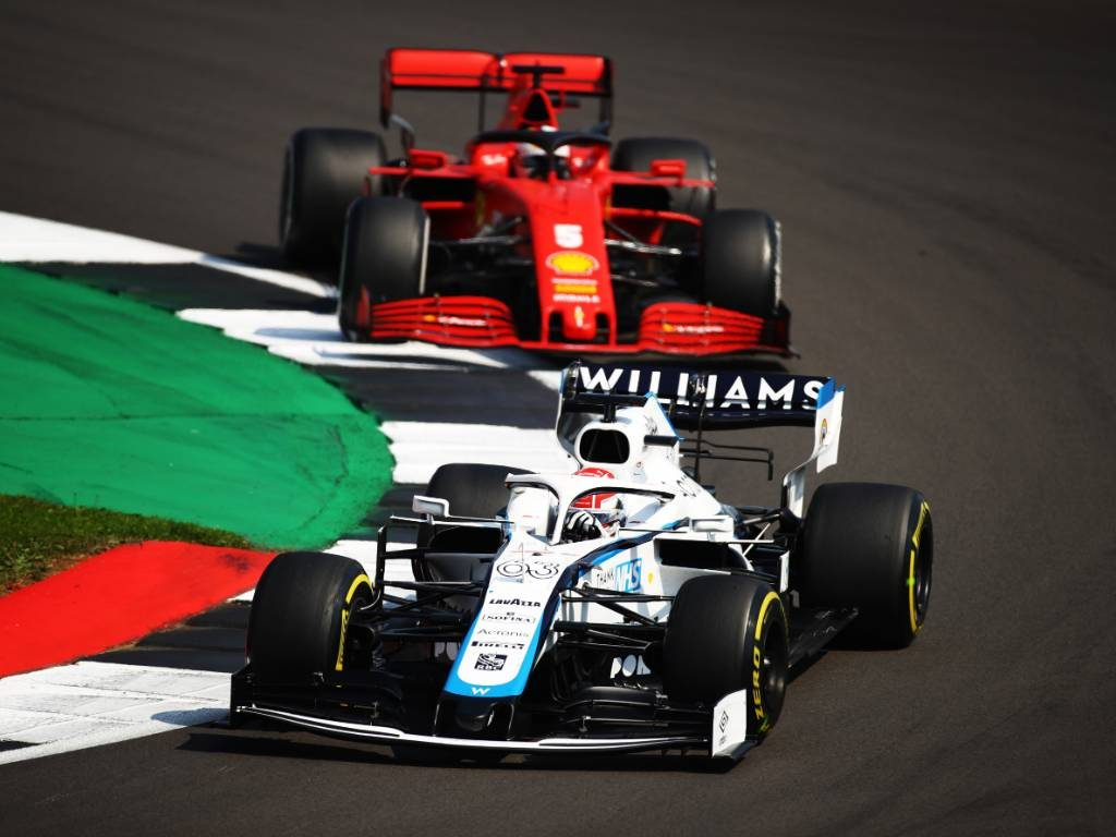 George Russell (Williams) leads Sebastian Vettel (excitement feature)