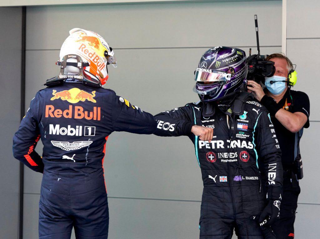 Max Verstappen and Lewis Hamilton elbow bump